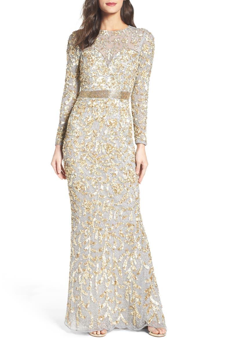 MAC DUGGAL Beaded Gown, Main, color, PLATINUM GOLD