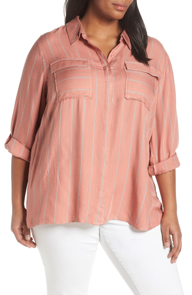SEVEN7 Stripe Roll-Tab Sleeve Blouse, Main, color, 616