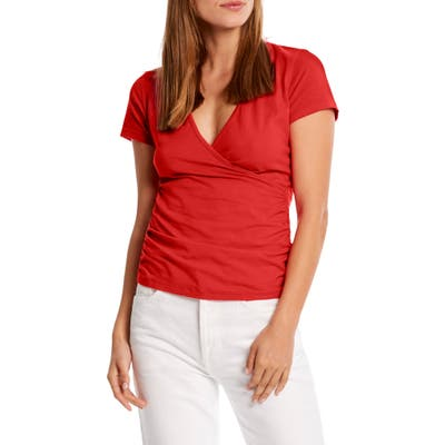 Michael Stars Bella Surplice Ruched Stretch Cotton Top, Red
