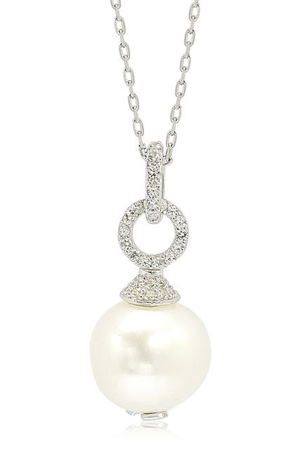 Image of Suzy Levian Sterling Silver 10mm Freshwater Pearl & Created Sapphire Pendant Necklace