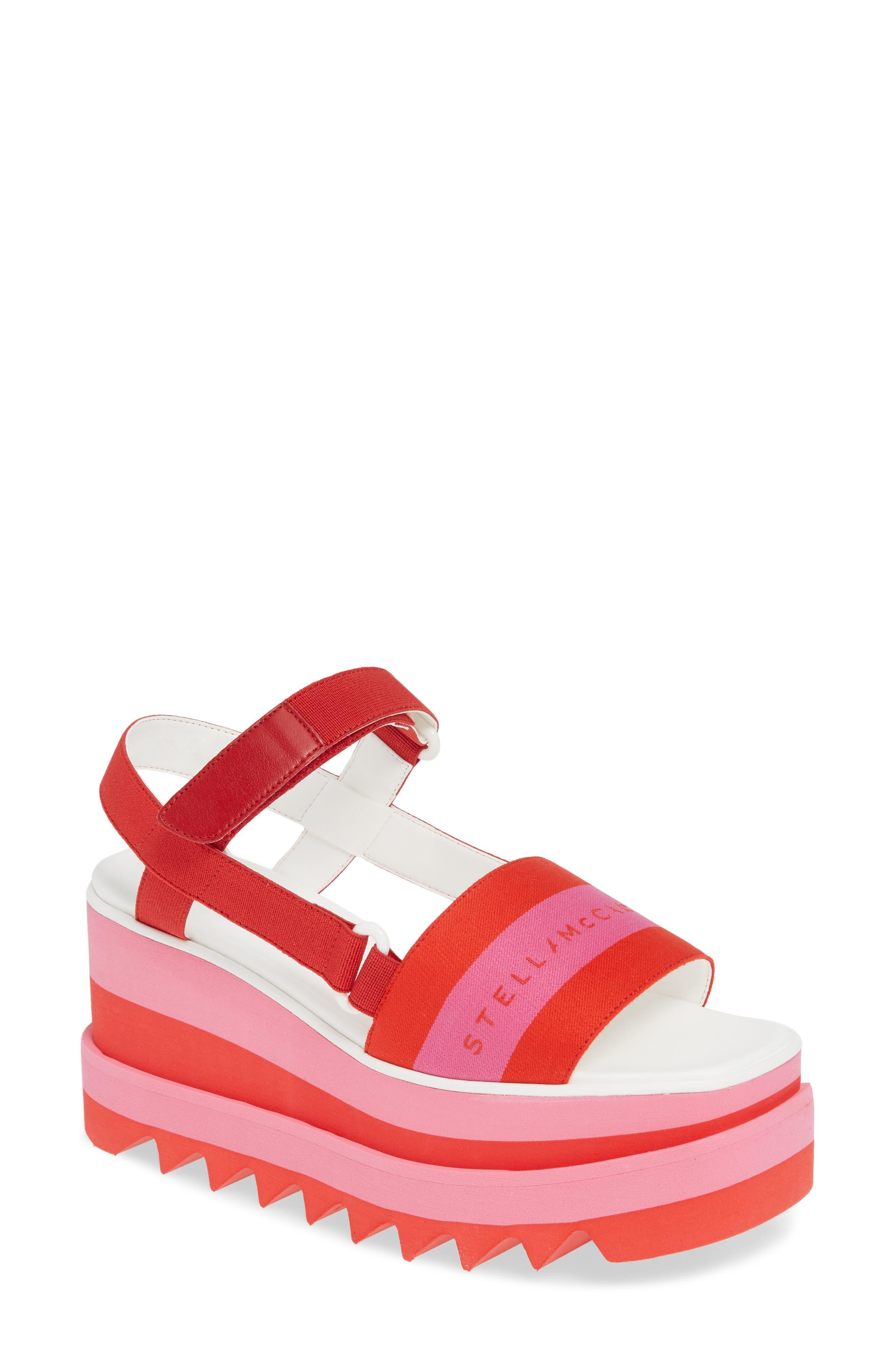 Stella Mccartney Stripe Logo Platform Sandal - Pink