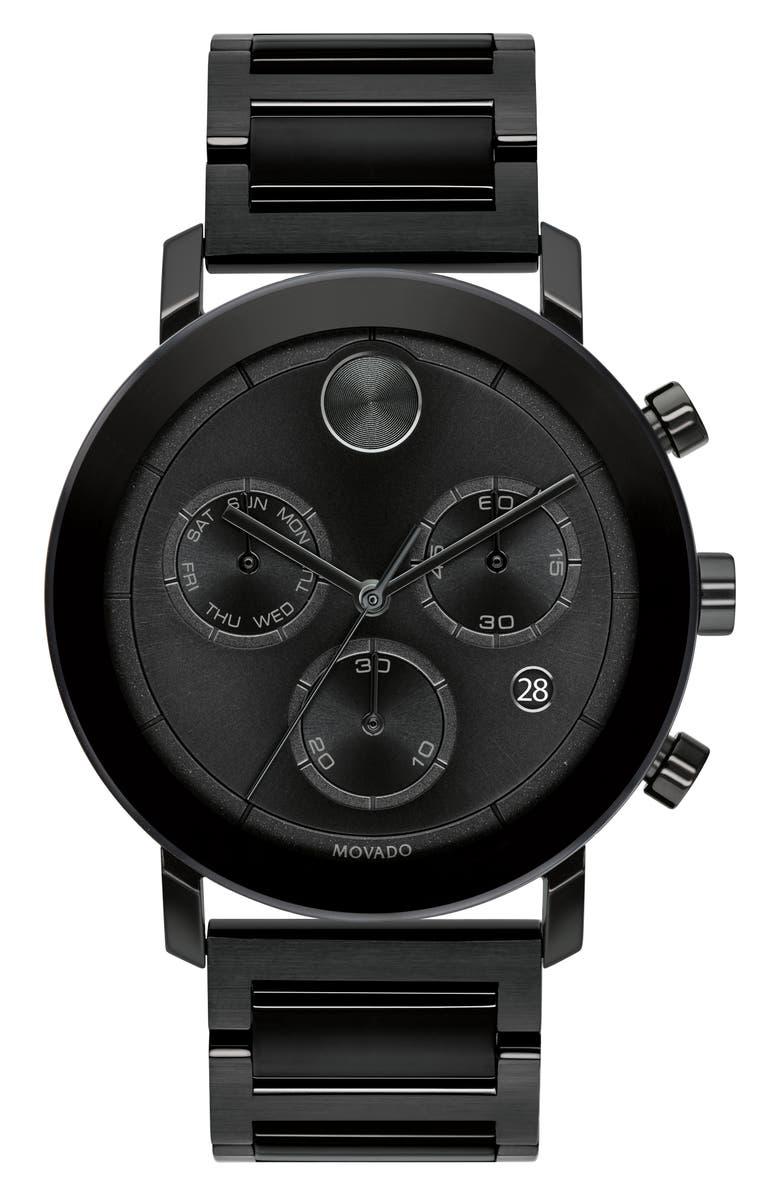 MOVADO Bold Evolution Chronograph Bracelet Watch, 42mm, Main, color, BLACK