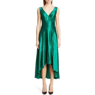 Sies Marjan High/low Satin Dress, Green