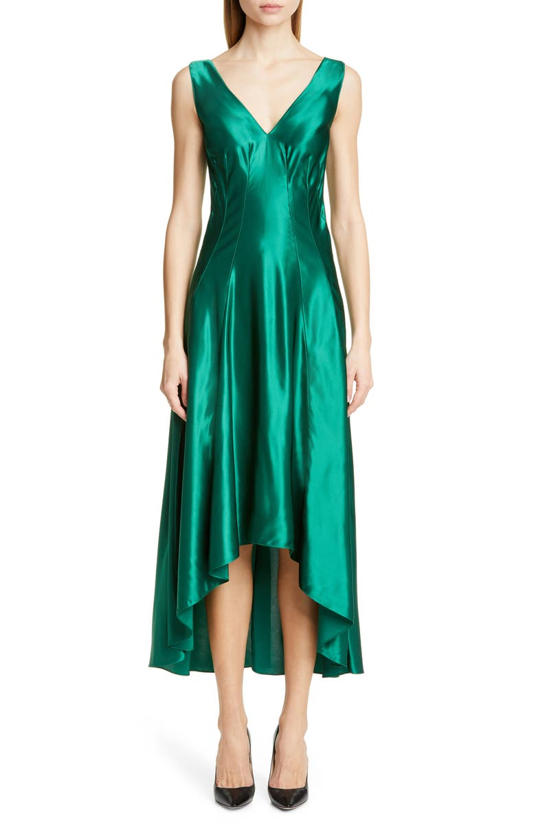 SIES MARJAN High/Low Satin Dress, Main, color, FOREST GREEN