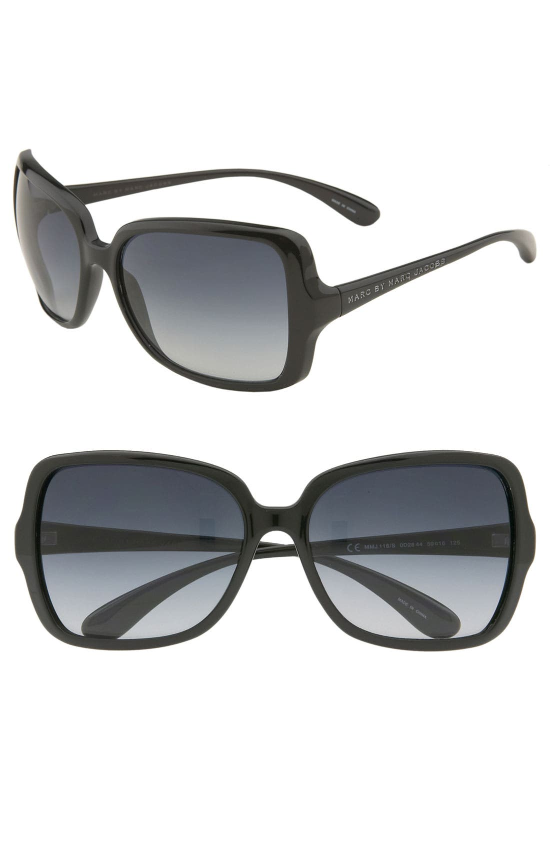 59mm Vintage Inspired Oversized Sunglasses, Main, color, 001