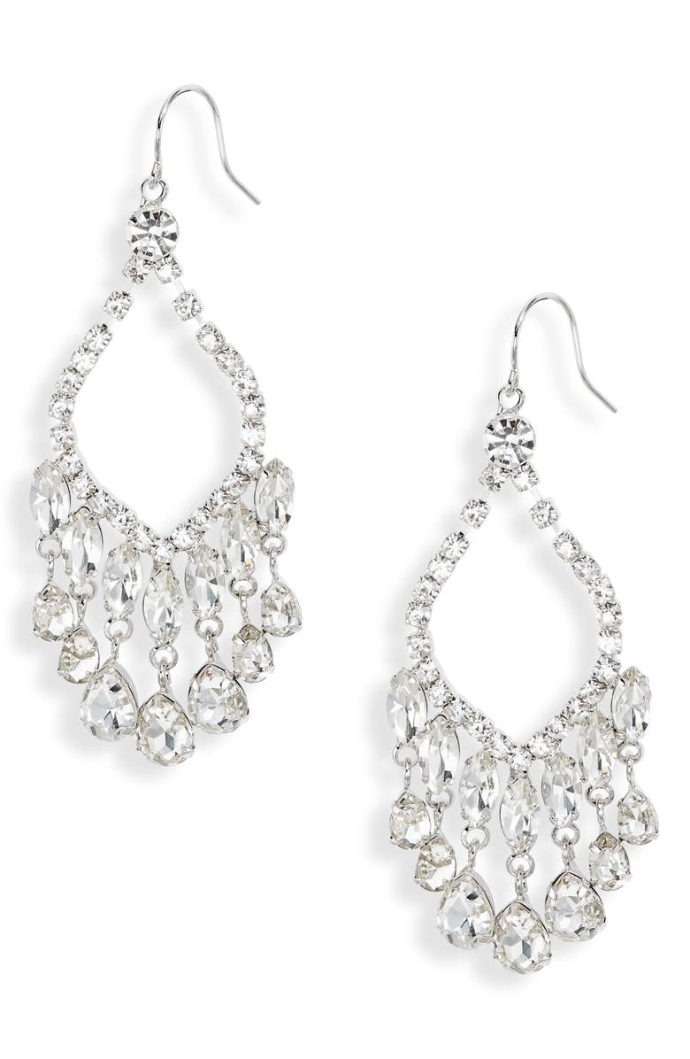 CRISTABELLE Crystal Open Chandelier Earrings, Main, color, CRYSTAL/ RHODIUM