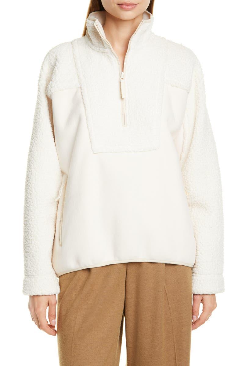 VINCE Mix Media Half-Zip Pullover Top, Main, color, CHIFFON