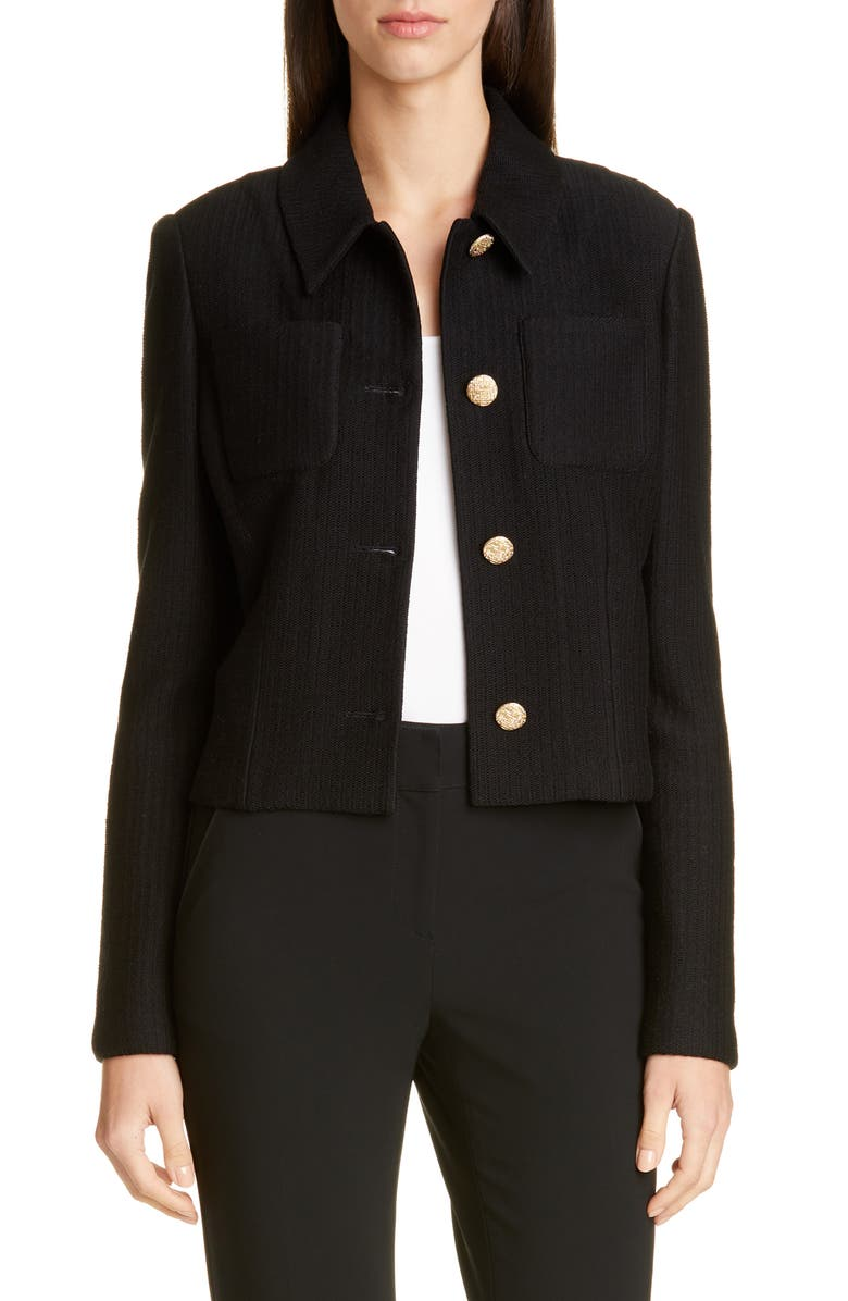ST. JOHN COLLECTION Float Jacquard Knit Jacket, Main, color, CAVIAR