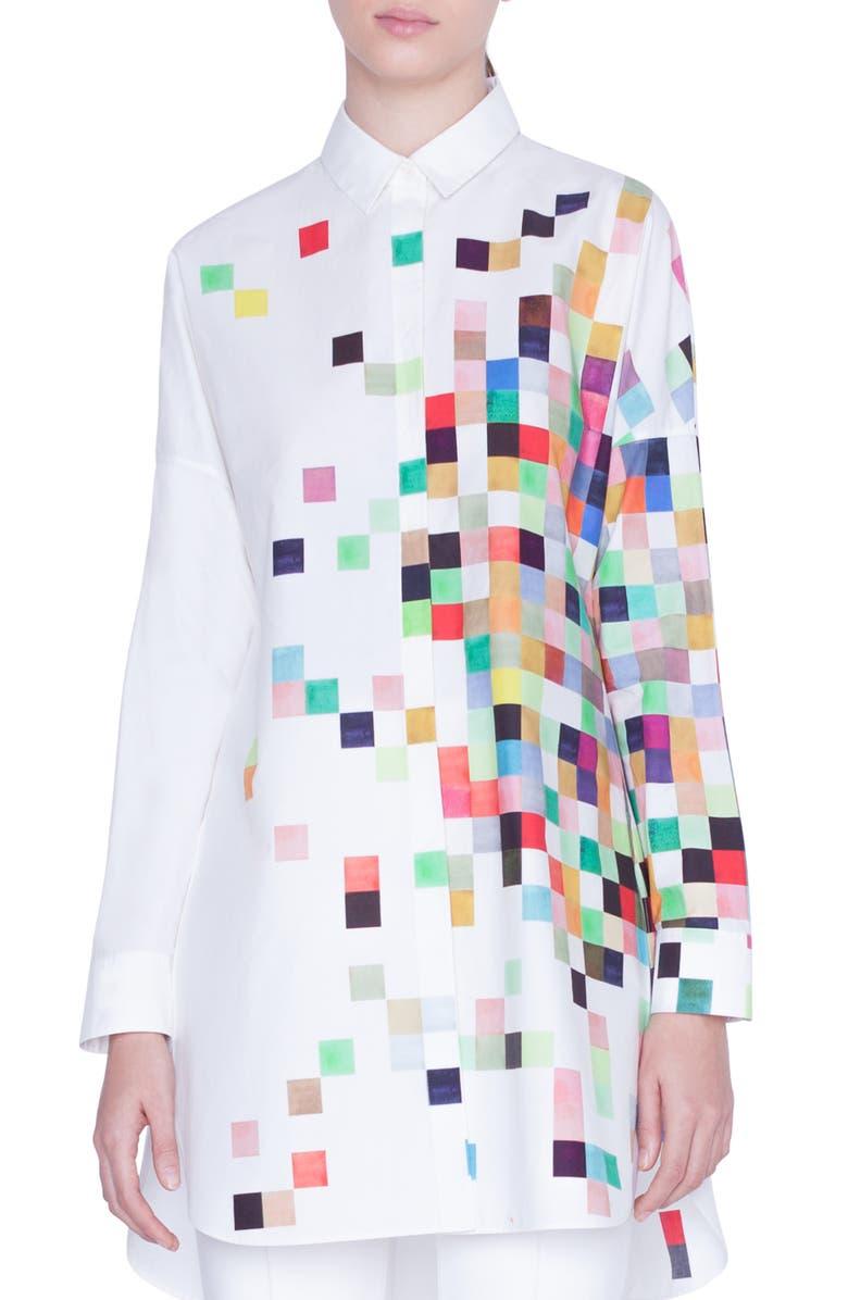 AKRIS PUNTO Pixel Print Tunic Shirt, Main, color, CREAM PIXELPRINT