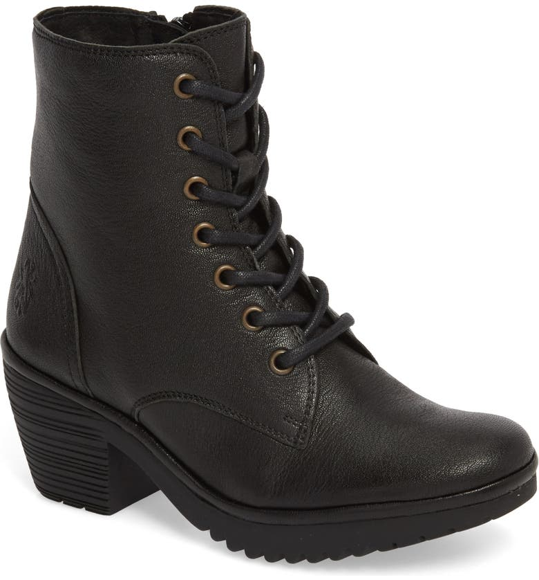 FLY LONDON Woke Lace-Up Bootie, Main, color, BLACK LEATHER