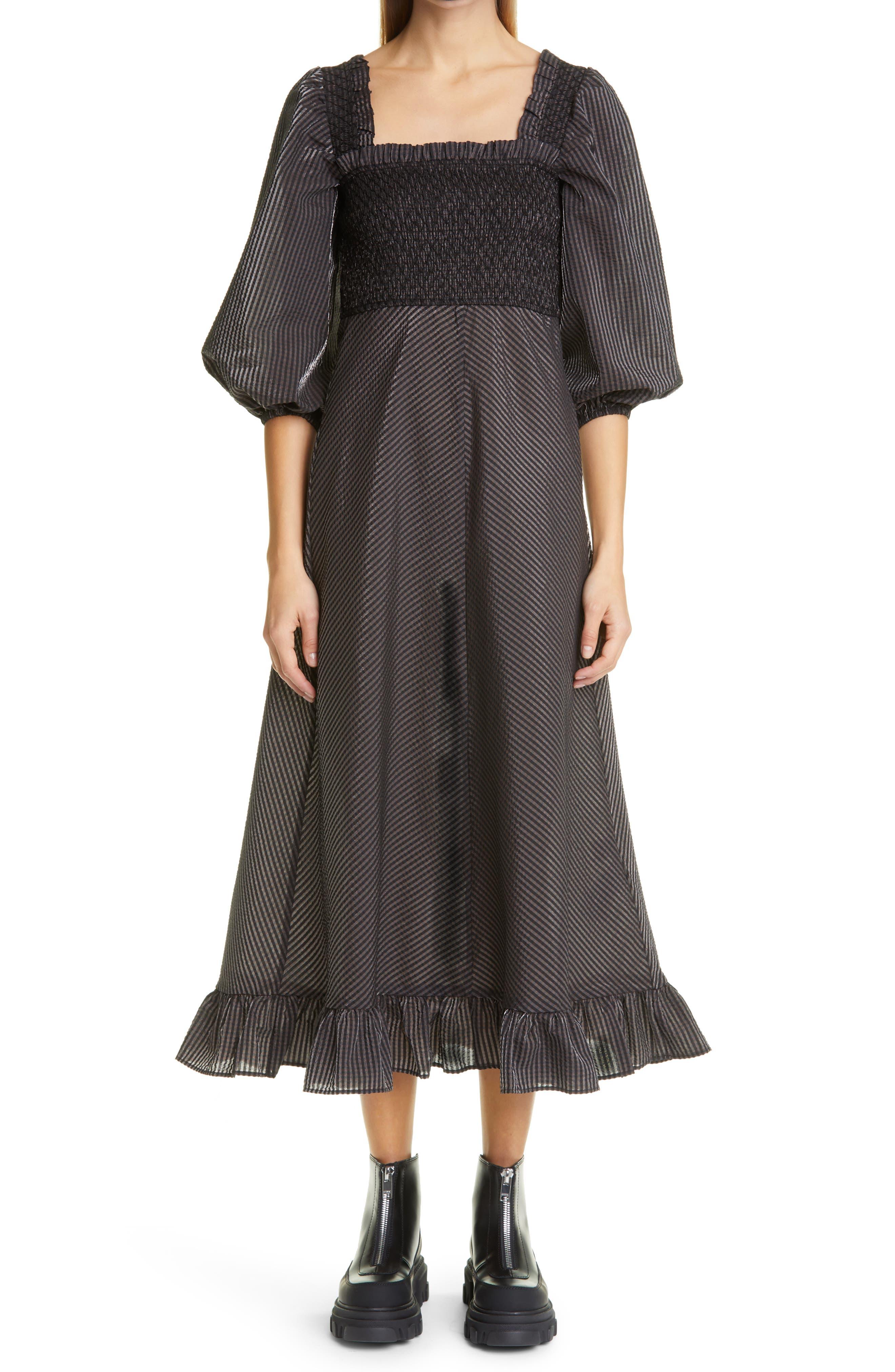 Image of GANNI Seersucker Check Square Neck Dress