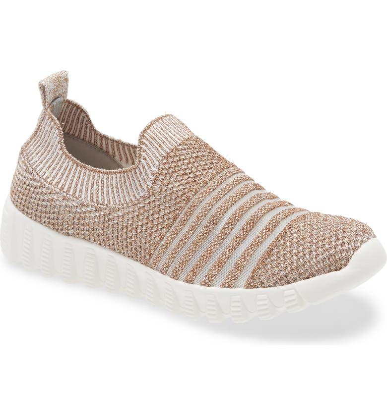 BERNIE MEV. Wylie Slip-On Sneaker, Main, color, WHITE/ ROSE GOLD FABRIC