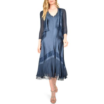 Petite Komarov V-Neck Midi Dress With Jacket, Blue