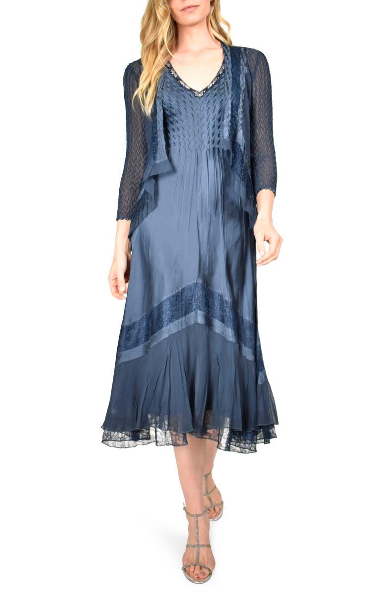 KOMAROV V-Neck Midi Dress with Jacket, Main, color, ECLIPSE