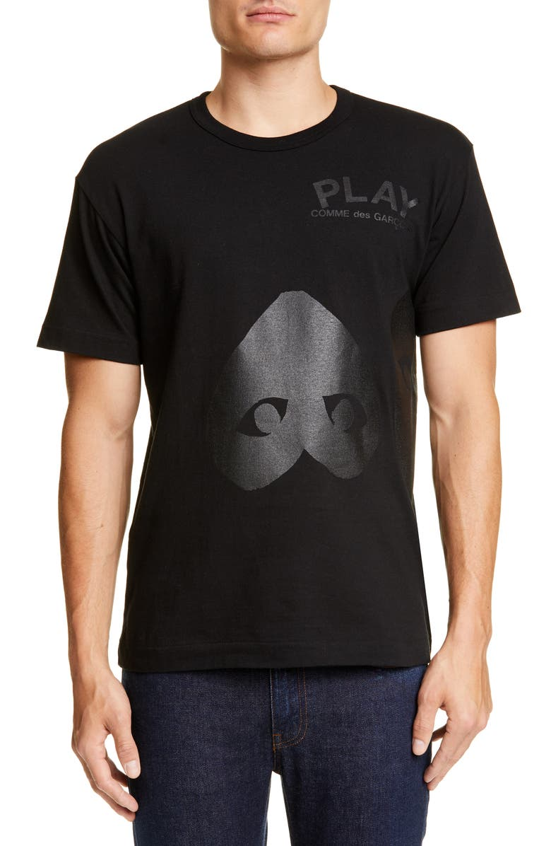 COMME DES GARÇONS PLAY Double Heart T-Shirt, Main, color, BLACK