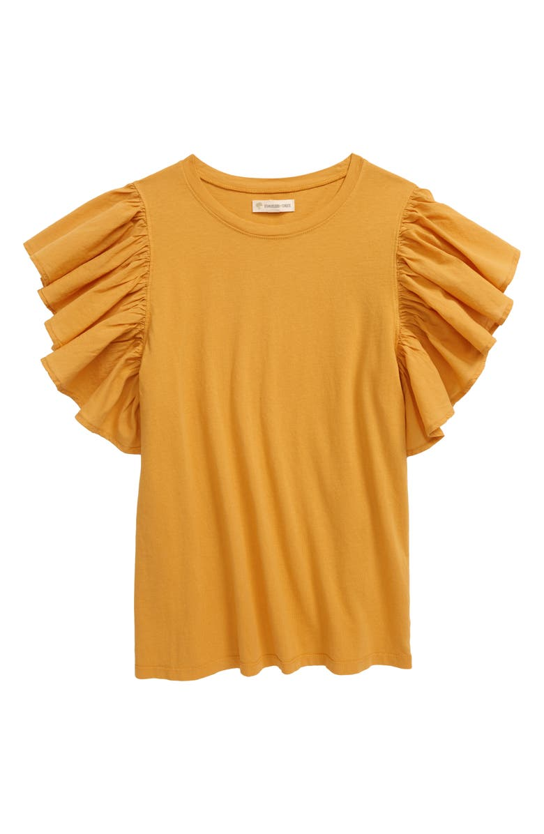 TUCKER + TATE Ruffle Sleeve T-Shirt, Main, color, YELLOW TREASURE