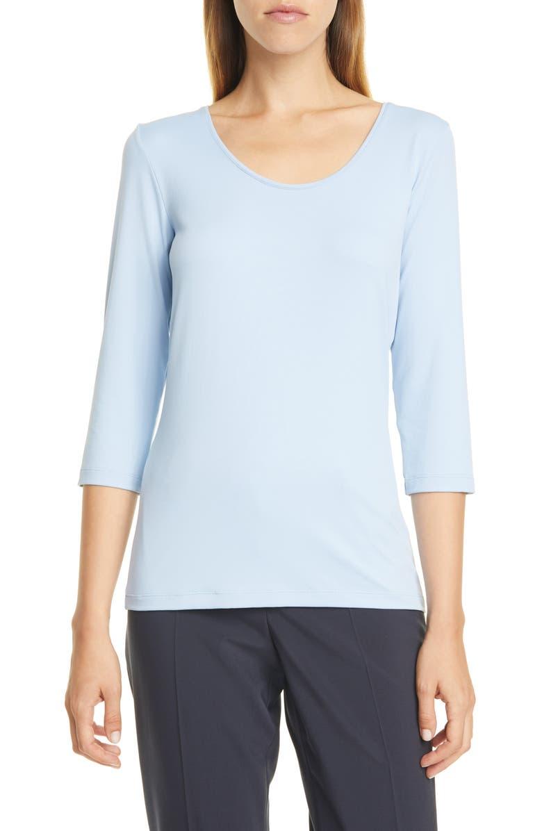 BOSS Scoop Neck Stretch Jersey Top, Main, color, SKY