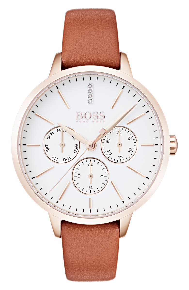 BOSS Symphony Leather Strap Watch, 38mm, Main, color, BROWN/ WHITE/ GOLD