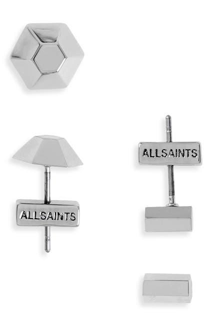 Image of ALLSAINTS Dome & Hex Stud Earrings Set