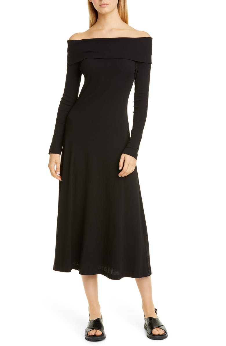 ROSETTA GETTY Ribbed Off the Shoulder Long Sleeve Midi Dress, Main, color, BLACK