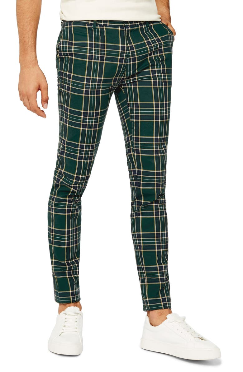 TOPMAN Check Stretch Skinny Pants, Main, color, GREEN MULTI
