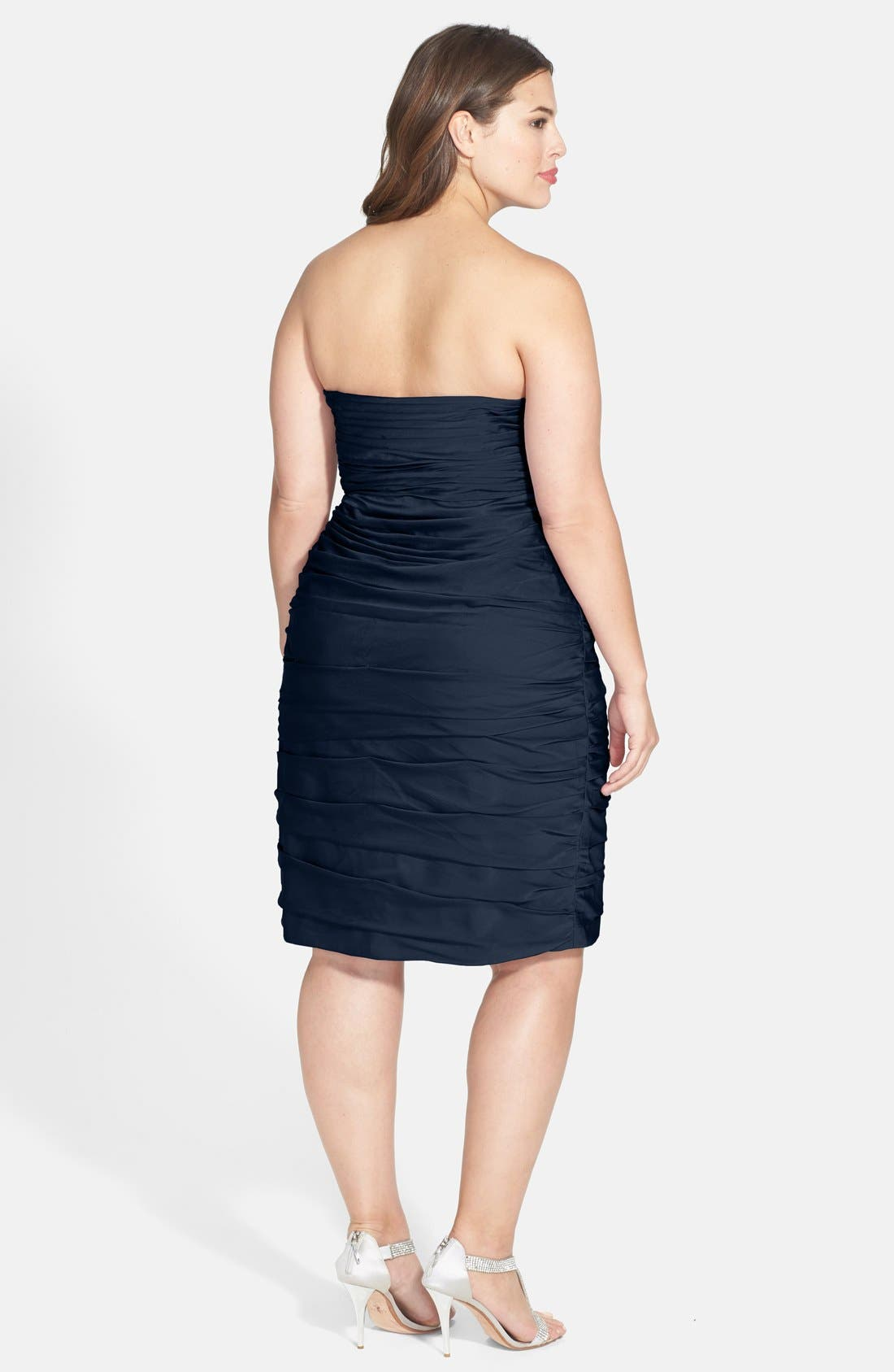 ,                             Ruched Strapless Cationic Chiffon Dress,                             Alternate thumbnail 42, color,                             400