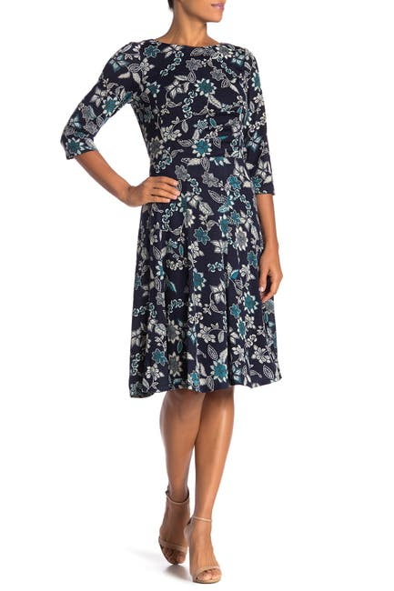 Image of Sandra Darren Floral Knit Fit & Flare Dress