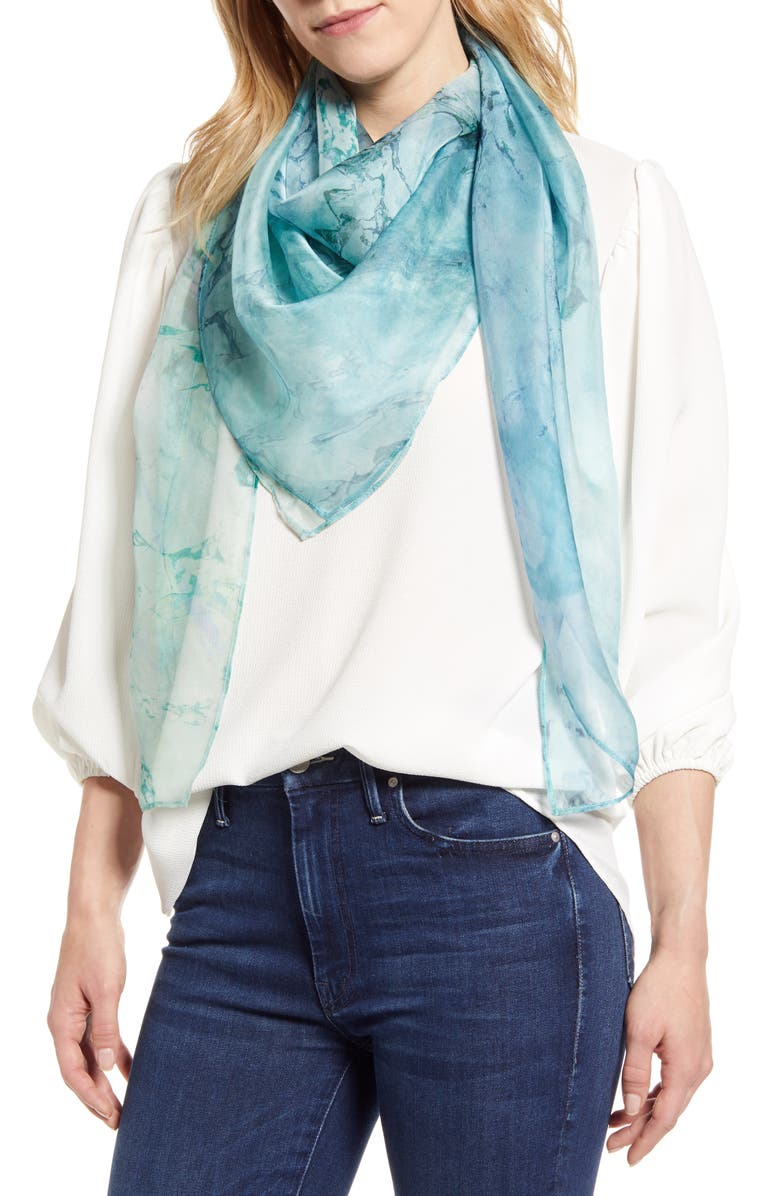 NORDSTROM Silk Scarf, Main, color, BLUE EARTH GLOW PRINT