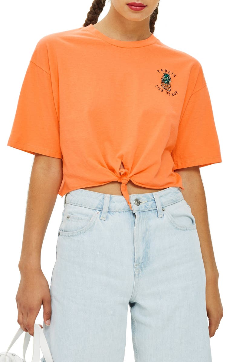 TOPSHOP Tropic Like It's Hot Tee, Main, color, 800