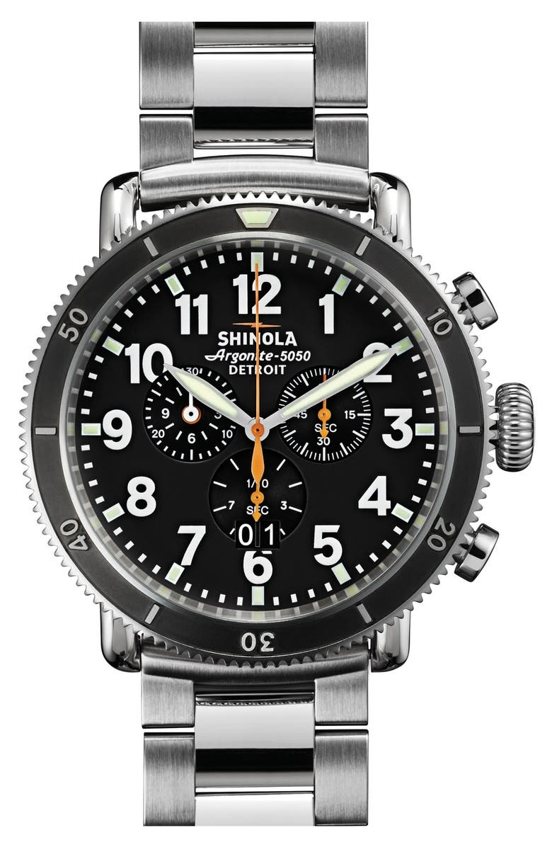 SHINOLA 'The Runwell Chrono' Bracelet Watch, 48mm, Main, color, 040