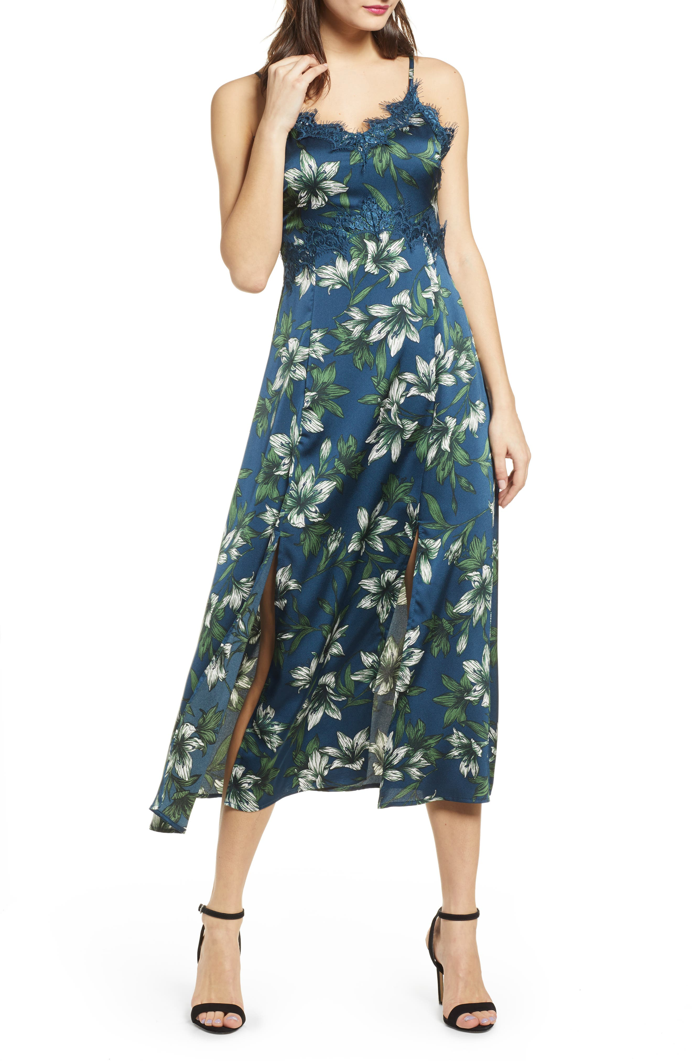 J.o.a. Lace Trim Sleeveless Midi Dress, Blue