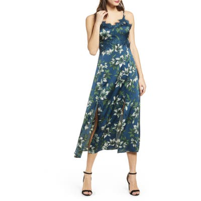 J.o.a. Lace Trim Sleeveless Midi Dress, Blue