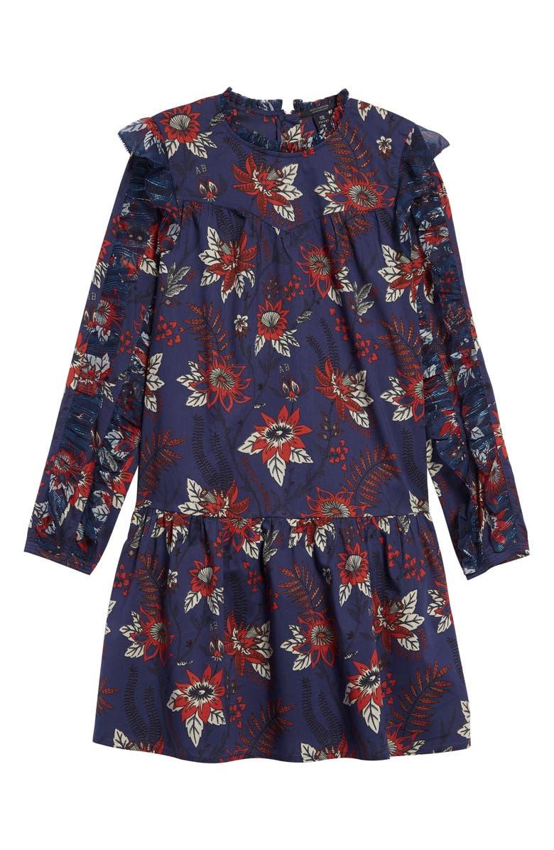 SCOTCH R'BELLE Floral Print Long Sleeve Dress, Main, color, BLUE