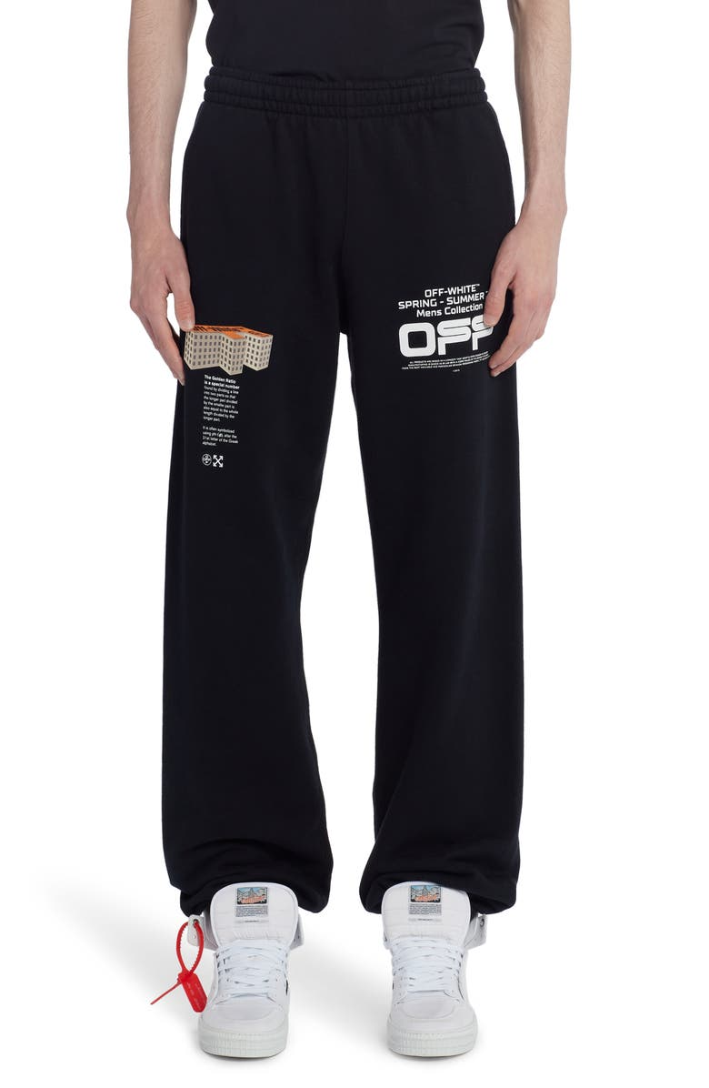 OFF-WHITE Wavy Line Logo Slim Sweatpants, Main, color, 001
