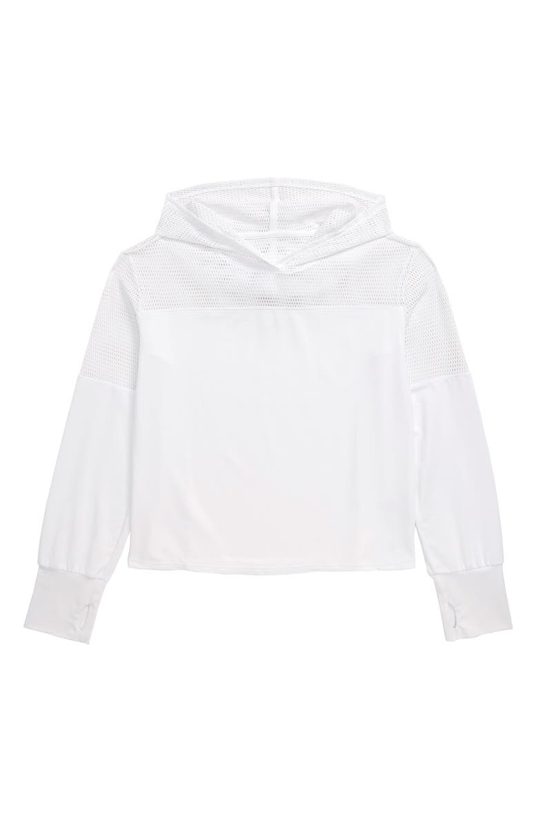 ZELLA GIRL Mix it Up Hooded Tee, Main, color, WHITE