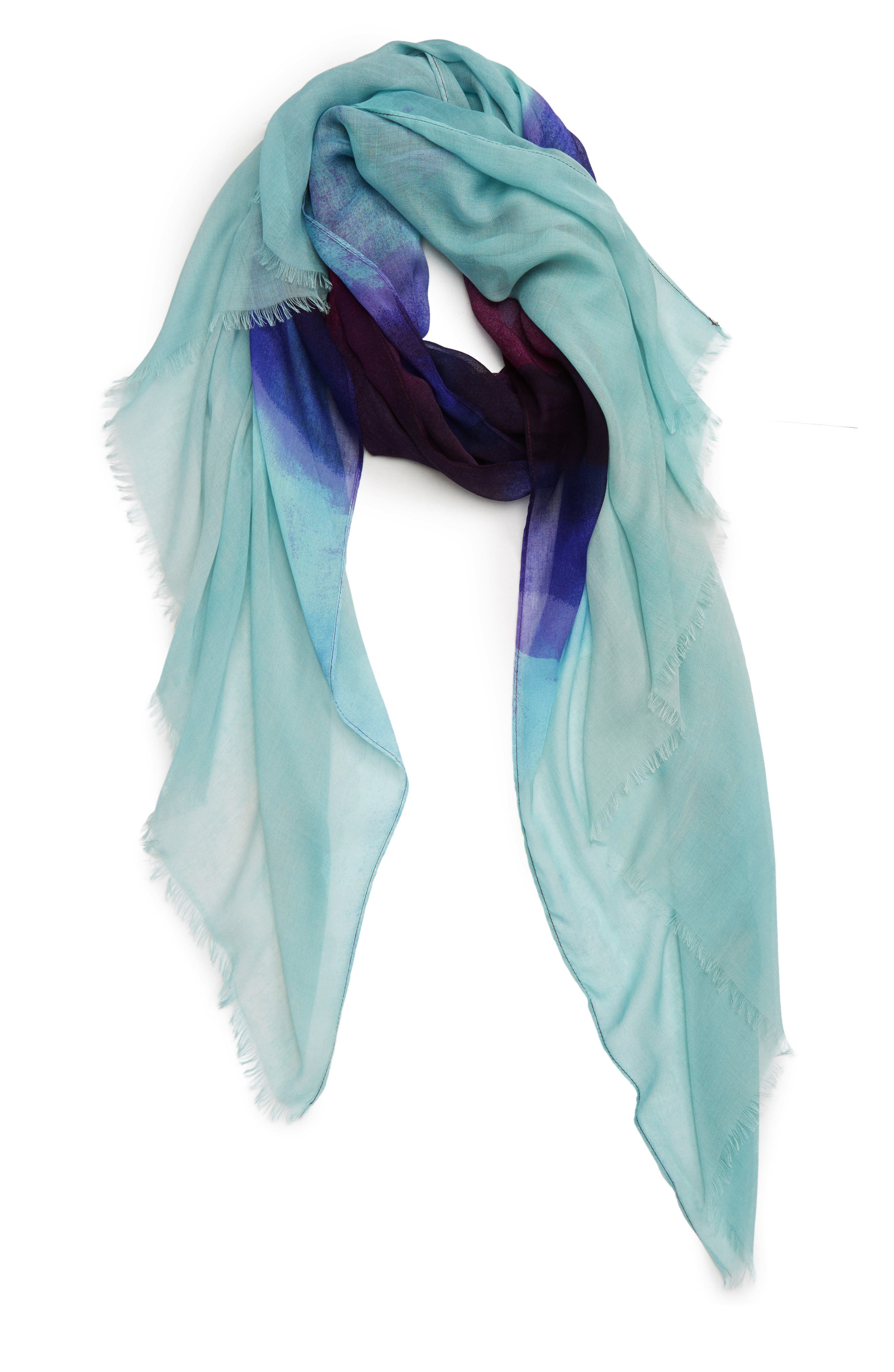 ,                             Print Modal & Silk Scarf,                             Alternate thumbnail 2, color,                             BLUE HEAVEN OMBRE PRINT