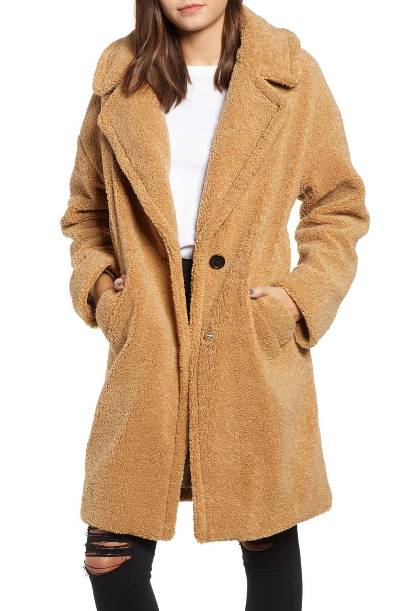 KENDALL + KYLIE Faux Fur Teddy Coat, Main, color, 252