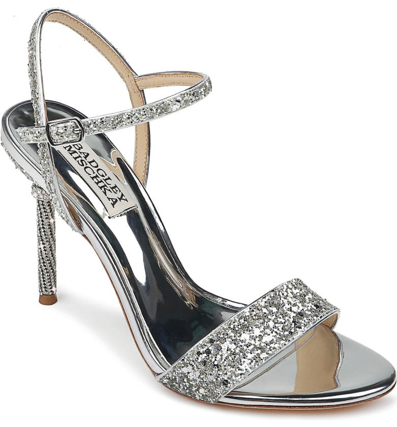 BADGLEY MISCHKA COLLECTION Badgley Mischka Olympia Embellished Sandal, Main, color, SILVER GLITTER
