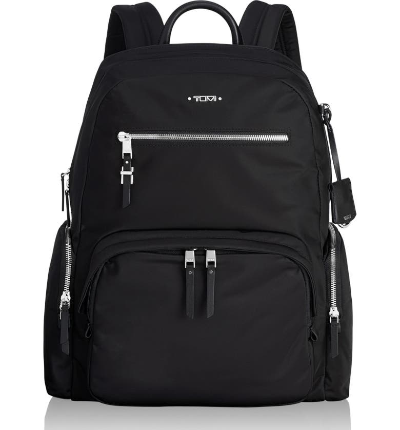 TUMI Voyager Carson Nylon Backpack, Main, color, BLACK/ SILVER