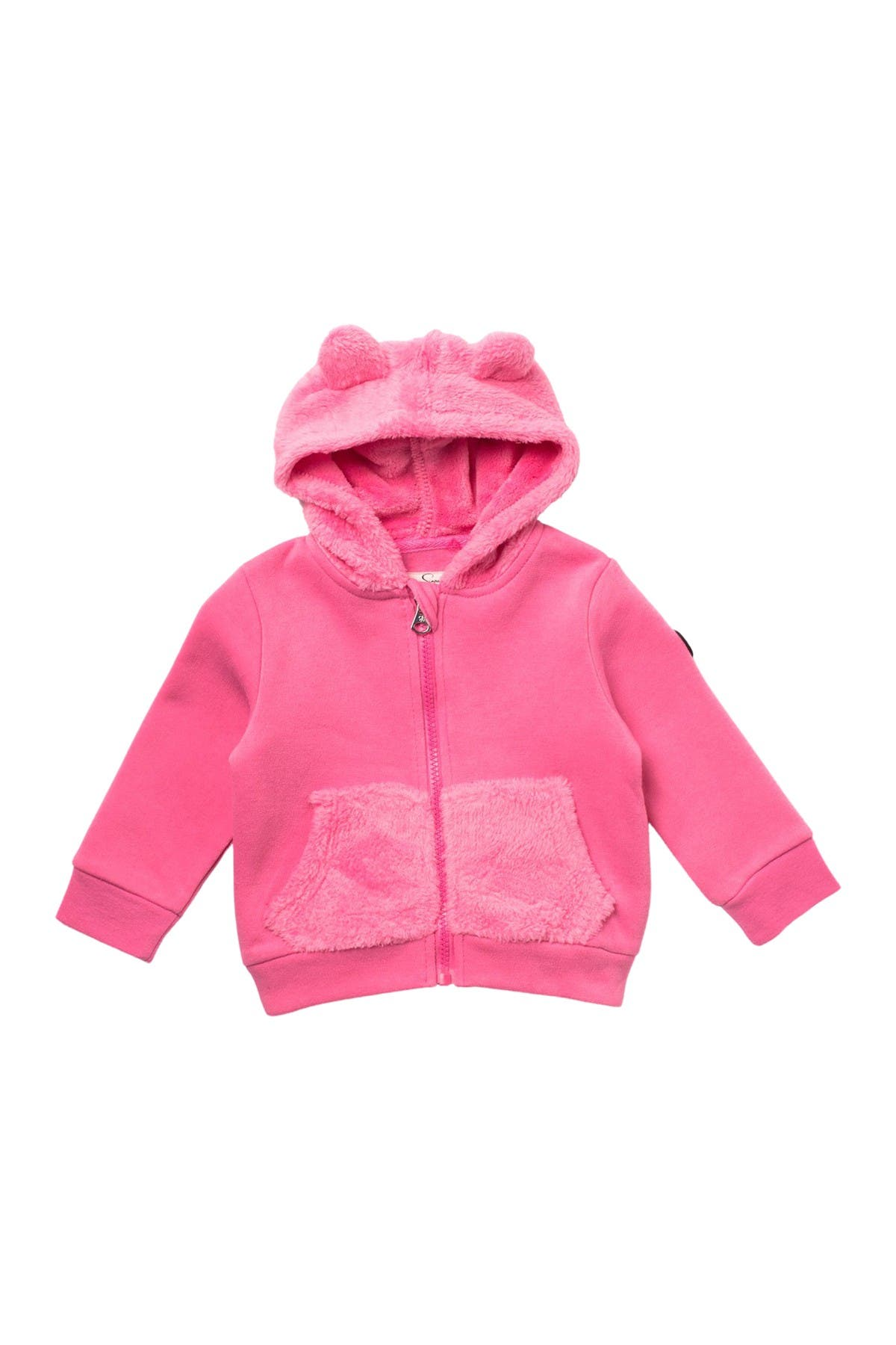 Image of Jessica Simpson Plush Faux Fur Trim Hooded Jacket