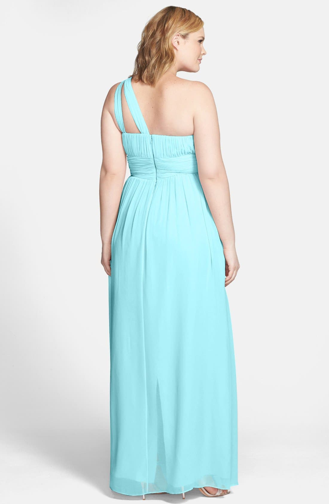 ,                             'Rachel' Ruched One-Shoulder Chiffon Gown,                             Alternate thumbnail 64, color,                             402