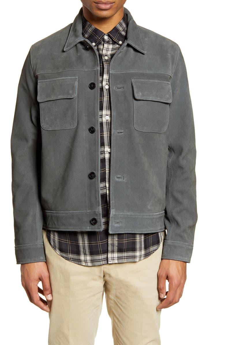 OFFICINE GÉNÉRALE Otto Slim Fit Suede Jacket, Main, color, GREY