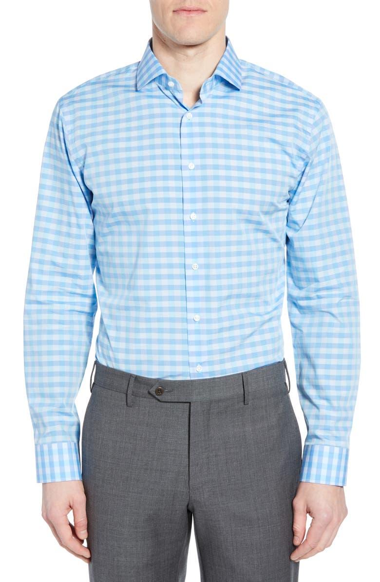 1901 Trim Fit Check Dress Shirt, Main, color, TEAL SCUBA