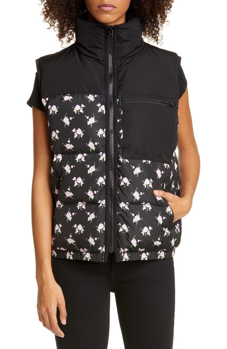 SANDY LIANG Miko Floral Puffer Vest, Main, color, TABLECLOTH BLACK