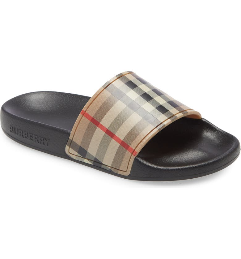 BURBERRY Check Slide Sandal, Main, color, ARCHIVE BEIGE
