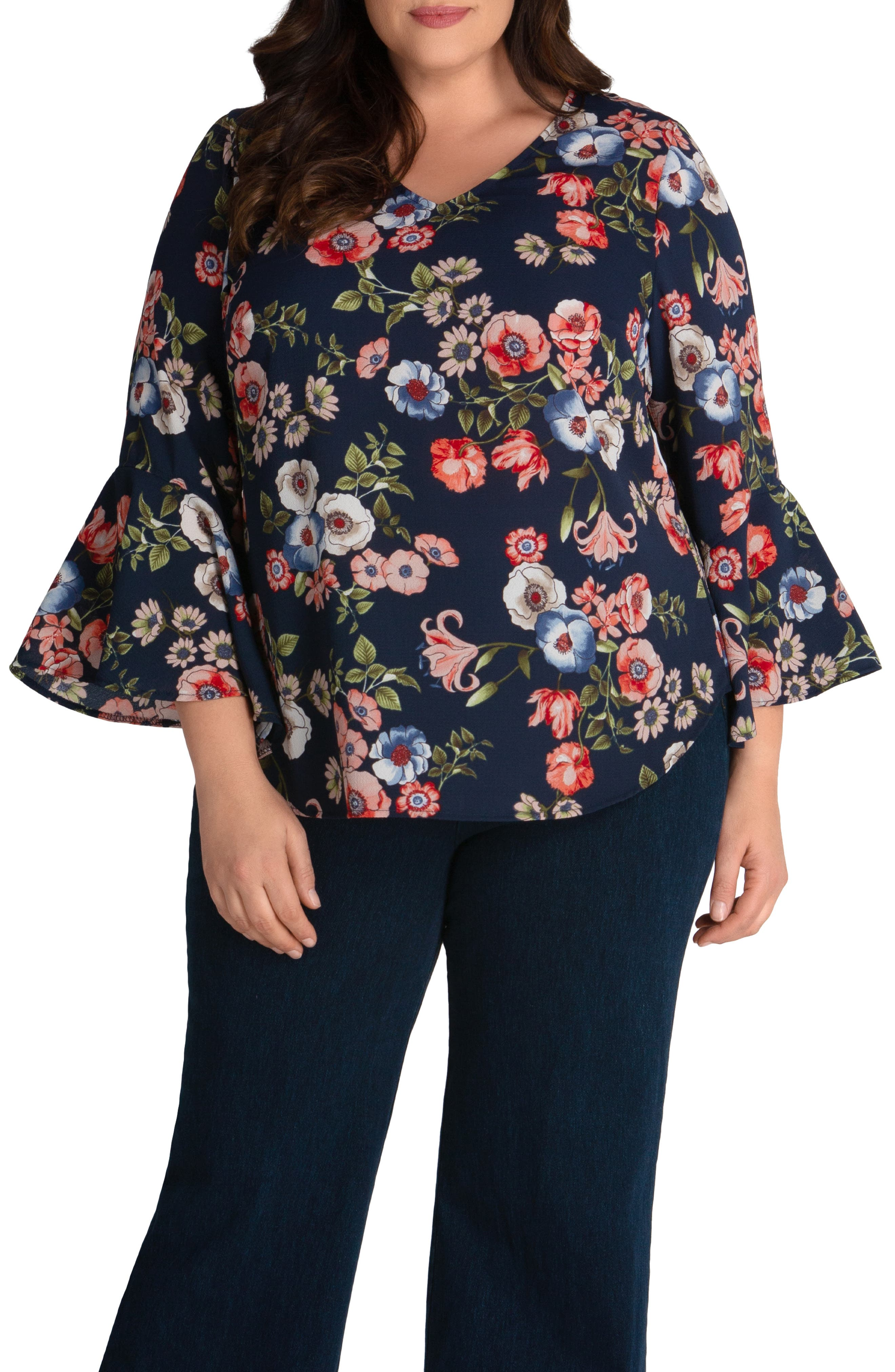 Ellie Bell Cuff Crepe Blouse