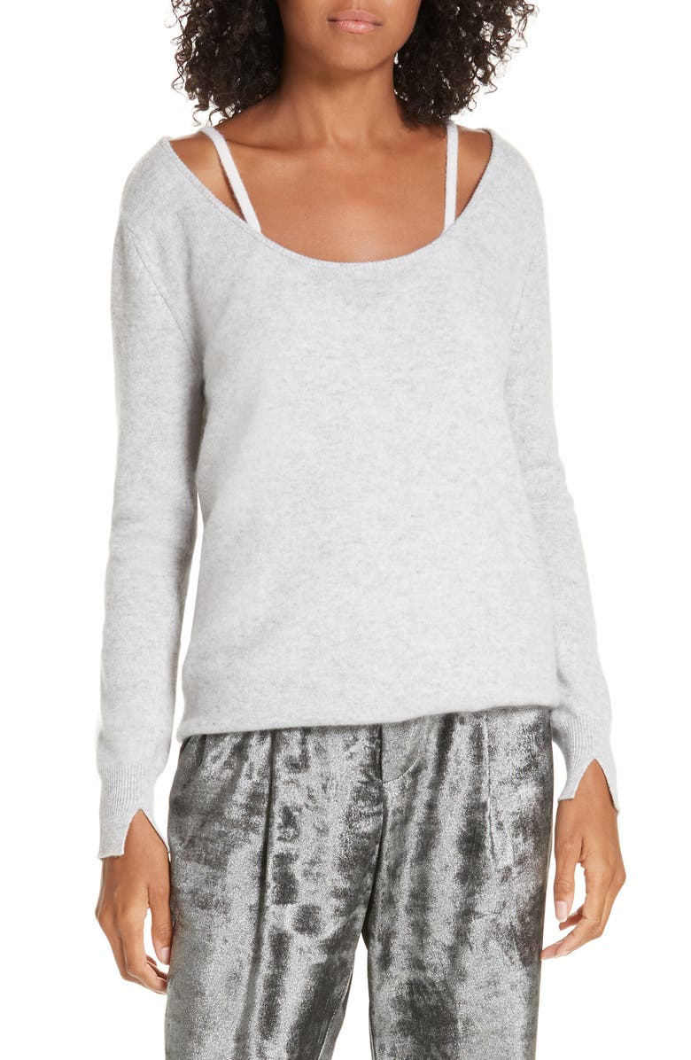 BROCHU WALKER Mabel Layered Look Cashmere Sweater, Main, color, 030