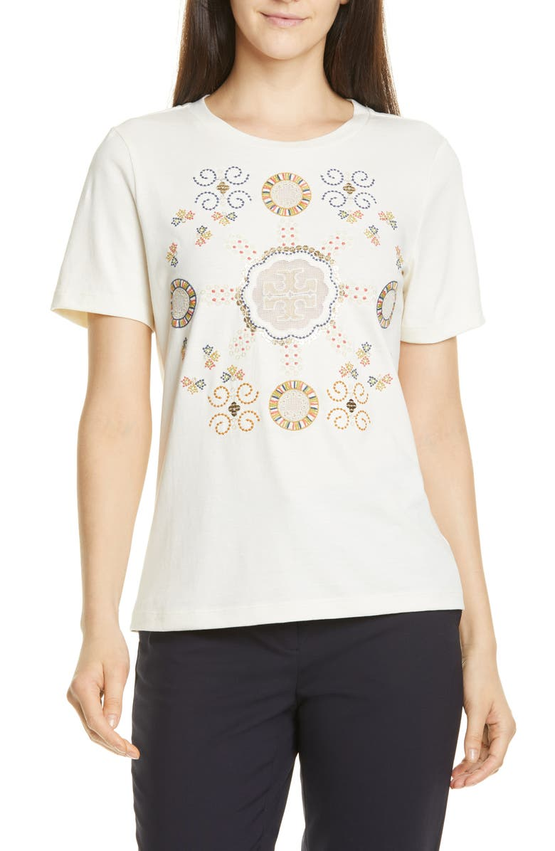 TORY BURCH Embroidered Logo Tee, Main, color, NEW IVORY