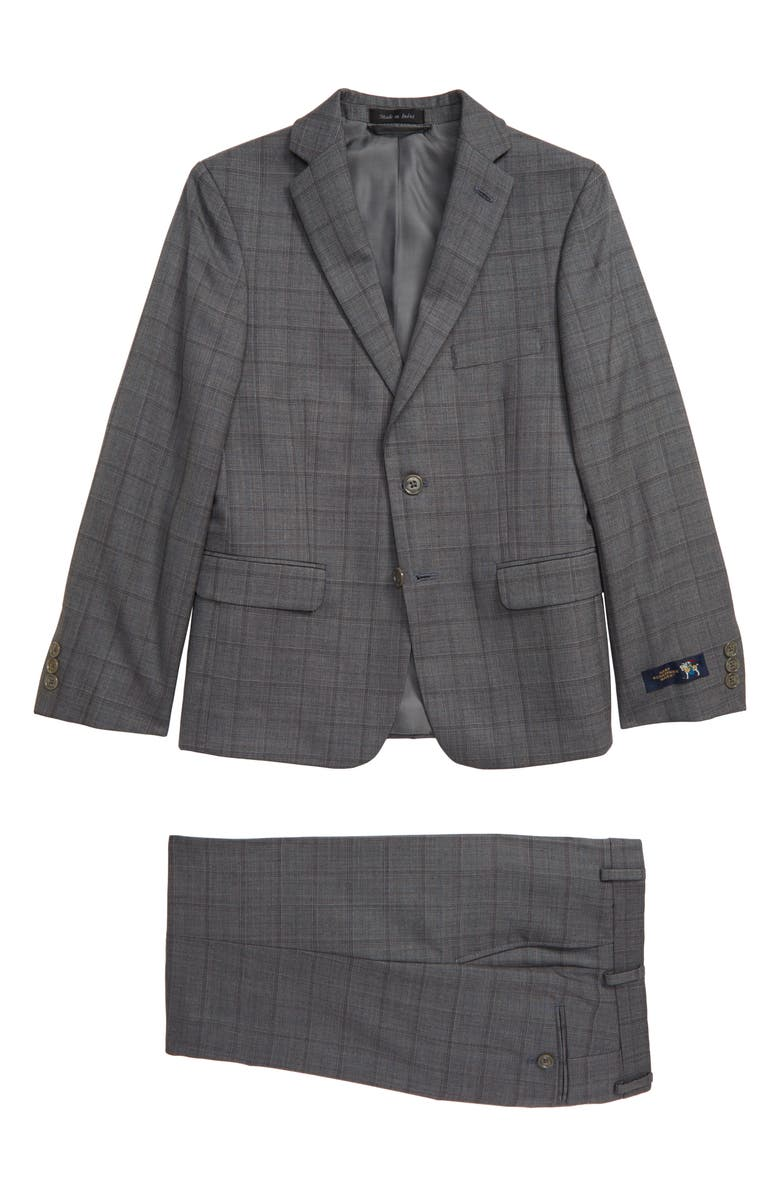 HART SCHAFFNER MARX Windowpane Nested Wool Suit, Main, color, LIGHT GREY