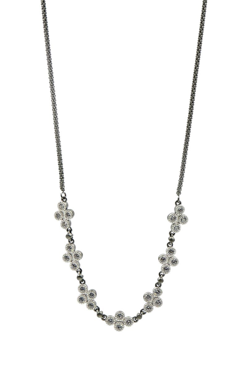FREIDA ROTHMAN Industrial Finish Chain Necklace, Main, color, BLACK/ SILVER